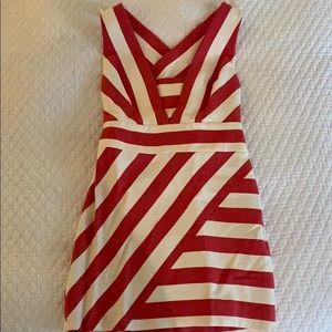Milly x-back red stripe mini dress 4 NWT